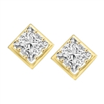 Classic princess cut stones earring in Gold Vermeil