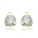 Round stone Gold Vermeil stud earrings