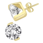 Round brilliant diamond earring in Gold Vermeil
