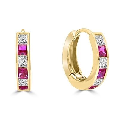 14K Gold Vermeil hoop earring with ruby diamond.