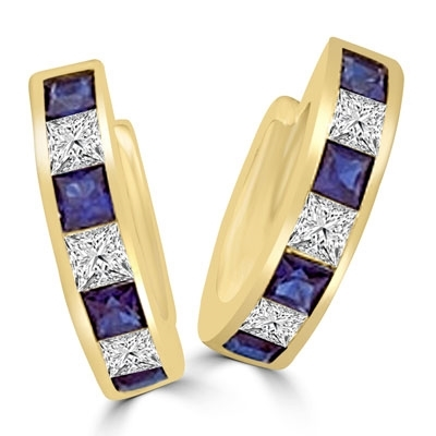 14K Gold Vermeil hoop Earring with alternate Diamond Essence and Sapphire Essence princess cut stones.