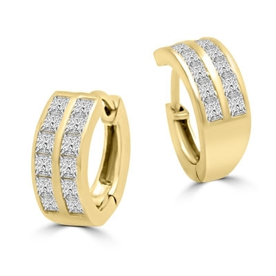 14K Gold Vermeil Huggies With Two Row Of Channel Set Princess Cut Diamond Essence Stone, 1.40 Cts.T.W.