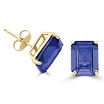 Gold vermeil sapphire studs earrings
