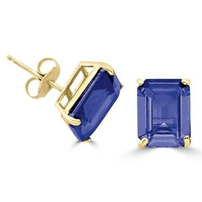 4183a1502efa10 Diamond Essence Sapphire studs set in 14K Gold Vermeil four prongs ...