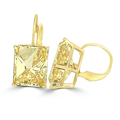 Lever Back With Emerald cut Canary Essence Stone in 14K Gold Vermeil.