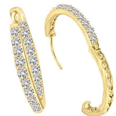 Classic Gold Vermeil hoop earrings with a melee of Round cut Diamond Essence stones orbiting all around your delicate lobes. These highly flattering hoops are also hinged half way around so they can go on and come off in a flash. 2.0 cts.t.w. 1'' diameter