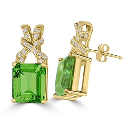 194bc488acc62 Diamond Essence Designer Stud Earrings with Emerald cut Emerald and Round  Brilliant Melee, 10.50 cts.t.w. - VED5570
