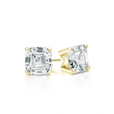 Diamond Essence ear studs, 2.5 carats each, set in Gold Vermeil -four prongs settings. 5.0 cts.t.w.