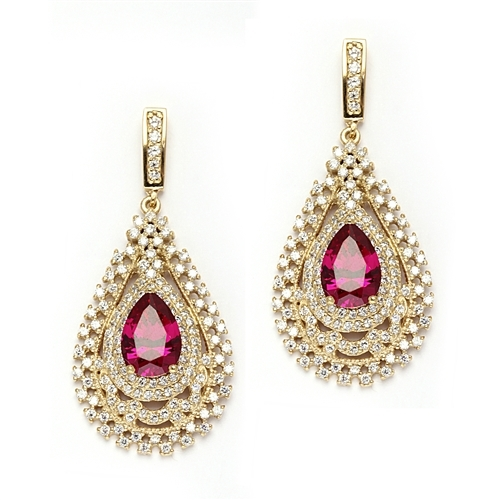 Diamond Essence Designer Earrings with Pear Cut Ruby  center in Gold Vermeil.