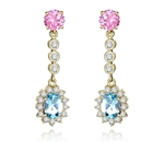 Prong Set Designer Earrings with Artificial Oval Cut Blue Topaz, Round Cut Pink Diamond and Brilliant Melee by Diamond Essence set in Vermeil