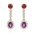 Bezel Set Designer Earrings with Oval Cut Amethyst with Round Cut Garnet and Brilliant Melee Diamonds by Diamond Essence set in Vermeil