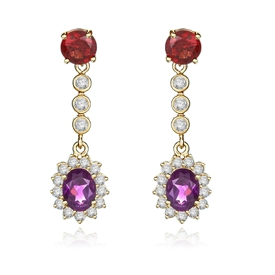 Diamond Essence Designer Earrings with Oval cut Amethyst, Round cut Garnet Stones and Brilliant Melee, 6.0 cts.t.w. - VED7011