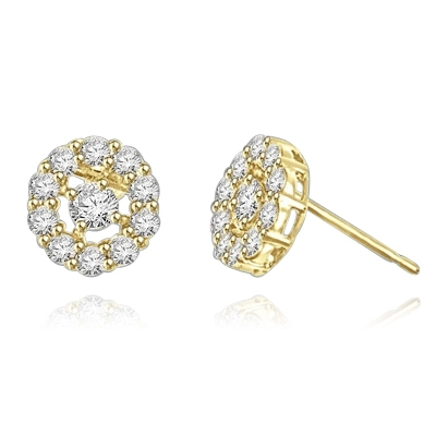 Diamond Essence round brilliant melee set in floral design with 0.25 ct. center, in 14k Gold Vermeil.