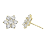Perfect Holiday and Mother's Day Gift. Traditional flower set Earring. 3.0 Cts.T.W. in 14k Gold Vermeil.