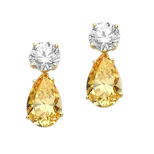 Best Selling Tear Drop Diamond Essence Earrings - White Brilliant Round Stone is 2 Ct and Canary Essence Pear Stone is 5 Ct. A Brilliant Sparkle of 14 Cts. T.W. for the pair of earrings, in Gold Vermeil.