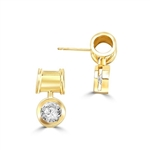 Unique Bezel set drop earring with 2 Cts. T.W. Round Diamond Essence, in 14k Gold Vermeil.