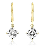 Asscher Cut Leverback Earrings. 2.0 Cts. T.W. set in 14K Gold Vermeil.
