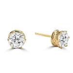 Basket Set Stud Earrings with Artificial Round Diamond by Diamond Essence set in Vermeil