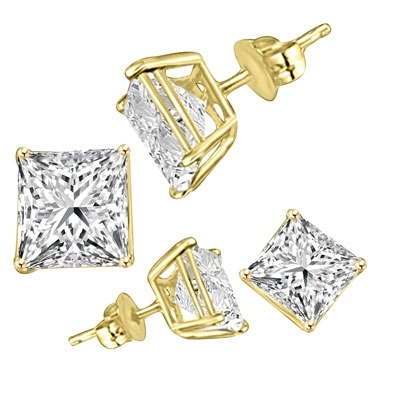 7a4d61256 ... Diamond Essence Princess cut stones set in Gold Plated over. Larger  Photo