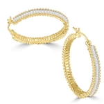11ct Hoop & baguettes earrings in Gold Vermeil