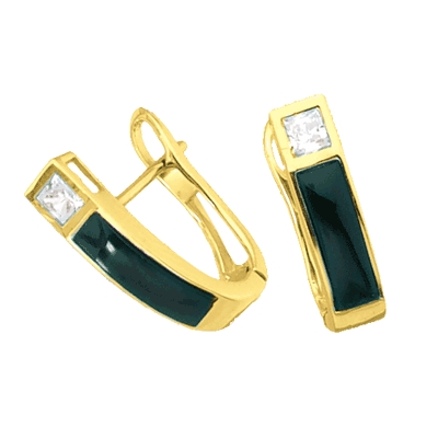 Diamond Essence Hoop Earrings With Black Onyx And Princess Cut Stones Vee5301