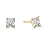 2ct Princess cut Diamond earring in Gold Vermeil