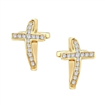 Wondrous Cross Earrings in Gold Vermeil