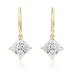 Diamond Essence Lever Back Earrings with Princess cut 8mm Masterpiece. The specially set 14k Gold Vermeil Earrings make for an impressive 4.0 Cts. T. W.