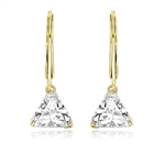Diamond Essence Brilliant Trilliant Cut 1 Ct each, for a 2 Cts. T.W. Lever Back Earrings set in 14k Gold Vermeil. Mesmerizing beauty for all occasions.
