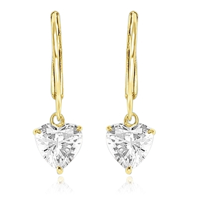 Diamond Essence Heart Lever Back Earrings 2 Cts. T.W. set in 14k Gold Vermeil.