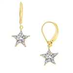 Prong Set Lever-back Earrings with Artificial Star Diamond by Diamond Essence set in Vermeil