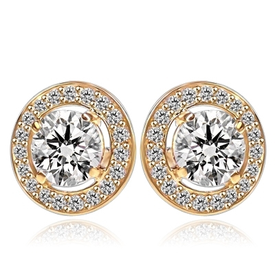Round stone earrings - 1.25 Cts. each Round Brilliant Diamond Essence surrounded by circle of Diamond Essence Melee. 2.90 Cts. T.W. set in 14k Gold Vermeil.