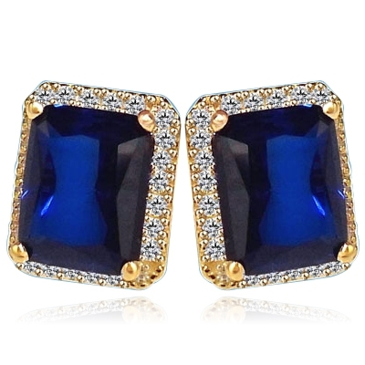 Sapphire Earrings - 4.0 Cts. Emerald cut Sapphire Essence set in center with sparkling Melee around. 8.5 Cts. T.W. set in 14k Gold Vermeil.