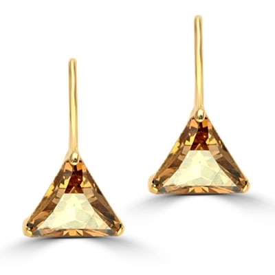 Diamond Essence Designer Earrings, each with 1.5 Cts.Trilliant cut Champagne Essence set in three prong setting. 3 Cts. T.W.