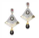 Hot Red Garnet Earrings - The style for any season! 3 Ct. Smoky Drop off a 1 Ct Lovely Hoop centering White Topaz Essences, kissing another 2.5 Ct. Garnet Essence in center. The entire setting is chic and ethnic! A rare combination! 12 cts. T.W.