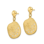 Pave set Diamond Essence Melee in Beautiful Brushed Polished Gold Vermeil Dangle Earring
