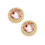 Diamond Essence Stud Earrings With French Cut Pink Essence Stone Surrounded By Round Brilliant Melee, 3.50 Cts.T.W.