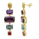 Diamond Essence Gold Plated Sterling Silver Earrings with Multi Color Rectangular Cushion Stones, 1.5 cts. Dark Purple 5 cts. Dark Amethyst, 1.5 cts. Aquamarine and 0.75 ct. Garnet Essence. 17.5 Cts.T.W.