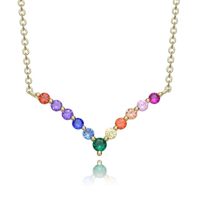"Diamond Essence Multi Color V Necklace, 1.10 Cts.t.w. set in Gold Plated Sterling Silver. 16"" Length (With 2"" extension)."