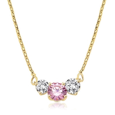 Pink Essence stone accompanied by Diamond Essence stones on each side to make delicate but stunning looking necklace, 14K Gold Vermeil. 4.0 cts. T.W. on 16 inch vermeil Chain.