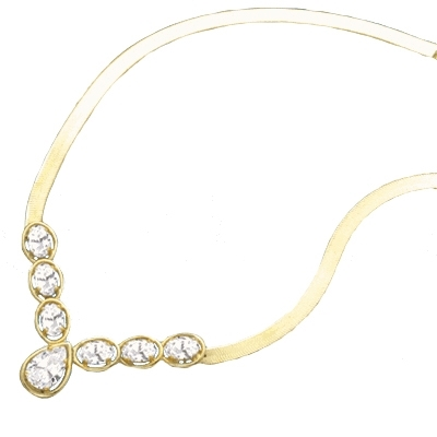 Classic combination of Diamond Essence Oval cut and Pear cut stones set in 14K Gold Vermeil. Necklace suitable for  any occasion.