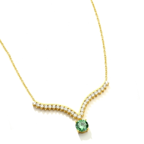 Supreme Necklace that is sure shot eye candy! 2.0 Cts. Round Emerald Essence Dangler atones a curvy melee of Round Brilliants set exquisitely in an Art Deco Setting! 3.50 Cts.T.W. attached with Chain in Platinum Plated Sterling Silver.