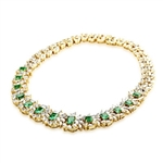 Prong Set Designer Necklace with Lab-made Emerald Cut Emerald, Pear, Marquise Essence and Round Brilliant Diamonds by Diamond Essence set in Vermeil