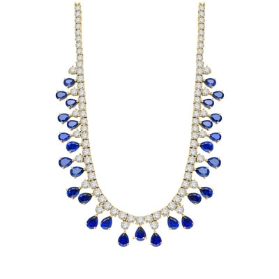 "Diamond Essence dazzling Necklace, 16"" long just perfect for any Occassion. 1.0 Ct. each Sapphire Essence stone dangling from Round Brilliant Diamond Essence stone. Appx. 75.0 cts.t.w. set in 14K Gold Vermeil."