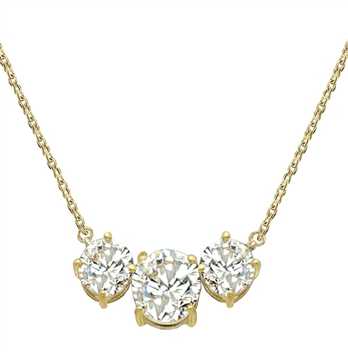 "Triple-Stone-Necklace--Three round brilliant Diamond Essence masterpieces--2.0 Cts in the center with 1.0 ct. stones on either side--on a 16"" anchor chain, with a lobster clasp for extra security. set in14K Gold Vermeil."