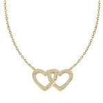 "Heart In Heart with 16"" long attached chain, 0.50 ct. t.w. of Diamond Essence Round Brilliant Stones in Gold Plated Sterling Silver."