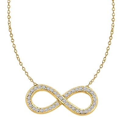 Diamond Essence Infinity Necklace with 0.50 ct.t.w. of Round Brilliant Melee - VNDKP463
