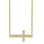 "East-West Cross Necklace with 16"" long attached chain and 0.25 ct.t.w. Diamond Essence Melee, in Gold Plated Sterling Silver."