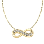 "Infinity Necklace with 0.45 ct.t.w. Round Brilliant Diamond Essence stones on 16"" long, Gold Plated Sterling Silver chain."