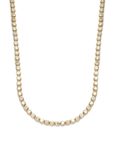Tourney - Wonderful Tennis Necklace, 17 Cts. T.W. with Bezel Set Round Cut Masterpieces forming a complete - and completely enchanting - circle. set in 14K Gold Vermeil.